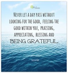 Never let a day pass without looking for the good, feeling the good within you, praising, appreciating, blessing and being grateful.