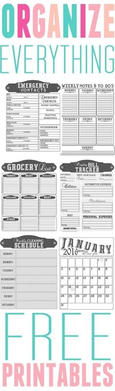 Printables to organize everything