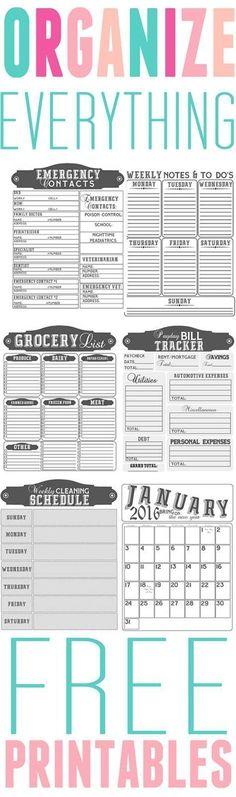 Printables to organize everything