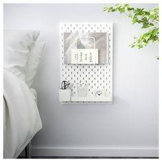 Ikea Skadis pegboard- amazing as a nightstand! Ikea Storage, Wall Storage, Bedroom Storage, Storage Hacks, Storage Ideas, Bedroom Organisation, Smart Storage, Room Organization, Storage Solutions