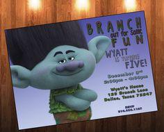 Trolls Movie, Birthday, Trolls Invitation, Trolls Birthday, Branch, Trolls Party, Birthday Invitation, Trolls Movie Party by AdrianMarieDesigns on Etsy