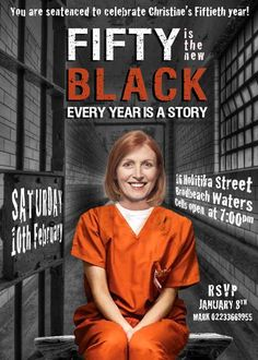 INSPIRED by Orange is the New Black, FUNNY PARODY Invitation, 60 is the new…