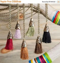 20% Off Sale Bronze Long Pinecone Tassel Necklace | Colored Tassel Necklace…