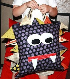 Monster pillow - would be so cute if you made it into a bag
