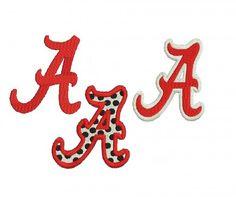 Alabama A Embroidery Design | Alabama A filled Machine Embroidery Pattern, 3 designs ...