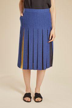 Venda JC de Castelbajac / 26422 / Calções e saias / Saia de lã e seda Azul e…