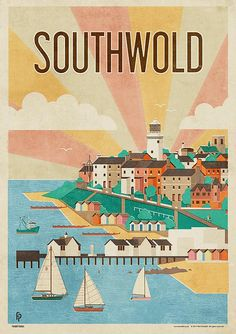 Southwold, by Neil Fendell. Southwold is a small town on the English North Sea coast in the Waveney district of Suffolk. It lies at the mouth of the River Blyth within the Suffolk Coast. Posters Uk, Railway Posters, Wrapping Paper Design, Tourism Poster, A4 Poster, Vintage Travel Posters, Wall Collage, Wall Art, North Sea