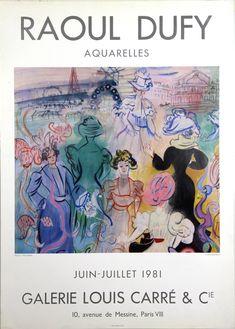 Affiche Dufy Raoul Aquarelles Galerie Louise Carre Juin Juillet 1981