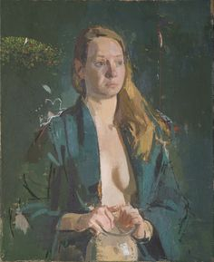 sangram majumdar, girl in green, oil on linen, 32 x 26 in, 2009 (private collection)