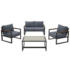 Hampton Bay West Park Black Aluminum Outdoor Patio 4 Piece Conversation Set With Cushionguard White Cushions Navy Blue Cushions, Beige Cushions, Outdoor Lounge, Outdoor Seating, Outdoor Spaces, Outdoor Living, Patio Loveseat, Lounge Areas, Lounge Chairs