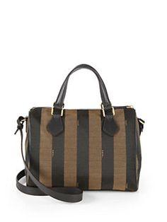 e2d73bad1f Fendi - Pequin Boston Jacquard Shoulder Bag Striped Canvas