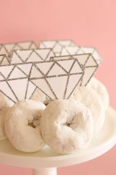 Bridal Shower DIY: Donut Diamond Rings. I like donuts and fake diamonds.
