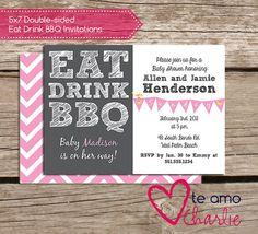 Eat Drink BBQ Baby Shower Invitations