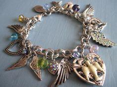 Vintage Charm Bracelet Kirks Folly Wings Angel Fairy