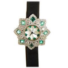 Graff Ladies White Gold Gemstone FloralGraff Quartz Wristwatch