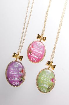 Keep Calm and Carry On Pastel Coloured Pendants by JayneKitsch
