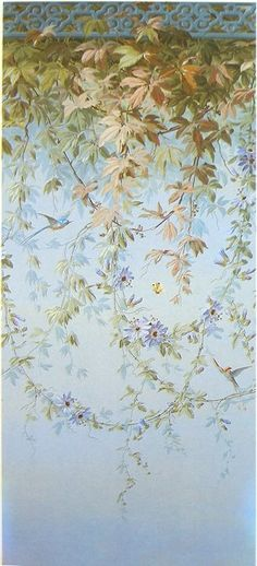 Painted wall vines I can imagine this beautiful idea of wall art to be painted all on and round a bedroom wall and everything else to be in white e.g. lamp shades, curtains bed linen then make a painted floor cloth in the blue shades with a little fallen flower and leaf here and there as if the wind has blown them off the wall and down. A vintage wooden bed could also be stencilled or hand painted to match in somehow.