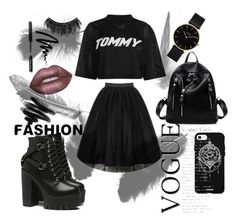 """""""Untitled #68"""" by ajladelicc ❤ liked on Polyvore featuring Tommy Hilfiger, Lime Crime, Bobbi Brown Cosmetics, Illamasqua, CLUSE and Fifth & Ninth"""