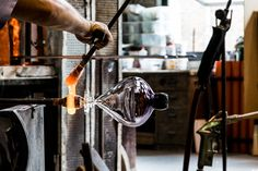 "Glass blowing in Murano Venice. The maestro Matteo Tagliapietra creating ""Archetipo"" perfume bottle design by Davide G. Aquini"