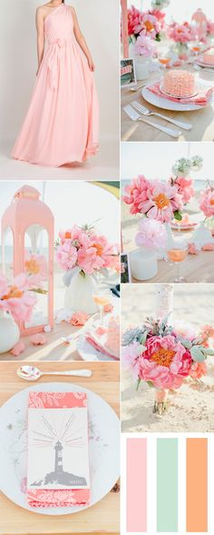 sand pink and peach wedding color combo ideas and bridesmaid dresses trends for spring 2016