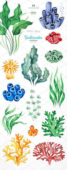 Underwater Drawing, Ocean Drawing, Jellyfish Drawing, Underwater Plants, Jellyfish Painting, Underwater Animals, Underwater Creatures, Watercolor Jellyfish, Jellyfish Tattoo
