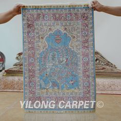 Yilong 2'x3' Oriental silk carpet tree of life handmade exquisite small silk rug (1161)