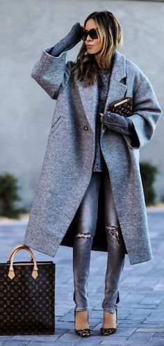 #cute #outfits Grey Coat // Grey Ripped Jeans // Leopard Pumps // Louis Vuitton Square Tote Bag