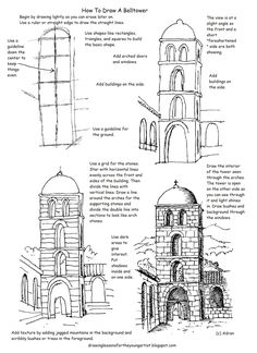 This free printable how to draw worksheet is helpful to draw a tower in a courtyard or village scene. It can be nice as a line drawing as ...