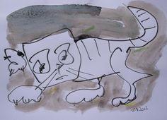 Cat  Din A4 Unikat Katze von Kunstmuellerei.com auf DaWanda.com