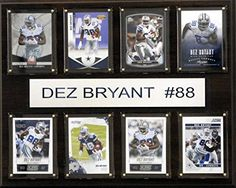"""NFL Dallas Cowboys Dez Bryant 8-Card Plaque, 12 x 15-Inch  Eight Licensed, Original Trading Cards  Engraved Nameplate  12""""x15"""" cherry wood plaque  Full lens covers to protect cards, pictures  Perfect for displaying in an office, rec room or bedroom"""