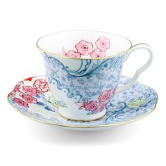 Wedgwood - Butterfly Bloom Teacup & Saucer Blue & Pink | Peter's of Kensington $50