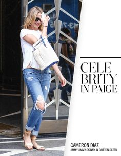 Cameron Diaz in PAIGE Denim / Jimmy Jimmy Skinny in Clifton Destructed