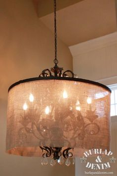 A diy shade made from burlap and a hula hoop totally modernized this diy tutorial diy burlap crafts diy barrel shade chandelier beadcord mozeypictures Choice Image