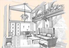 sketches of interiors by Aleksandr Starostin, via Behance Idea for interiors year 9