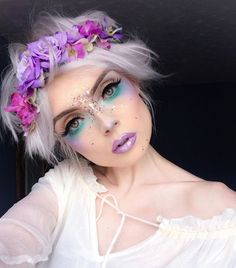 12 pretty unicorn makeup ideas for halloween mermaid costume Fairy Make-up, Elf Makeup, Cosplay Makeup, Makeup Art, Makeup Ideas, Fairy Costume Makeup, Angel Makeup, Pixie Makeup, Rave Makeup