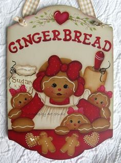 """HP GINGERBREAD SIGN BAKING COOKIES 11"""" TALL X 7 1/2"""" WIDE"""