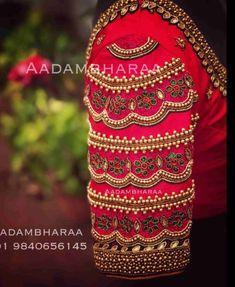 Wedding Saree Blouse Designs, Pattu Saree Blouse Designs, Fancy Blouse Designs, Sari Blouse, Aari Work Blouse, Blouse Back Neck Designs, Hand Work Blouse Design, Stylish Blouse Design, Designer Saree Blouses