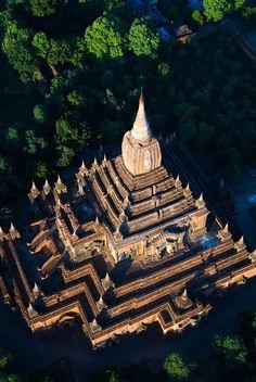 Hot air balloon ride over Bagan temples, Myanmar  #travel