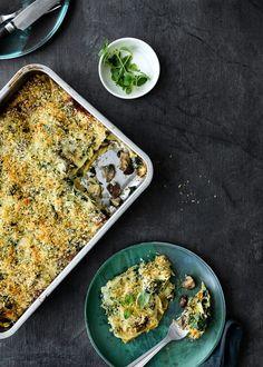 Vegetarlasagne: Kødfri lasagne med svampe og spinat