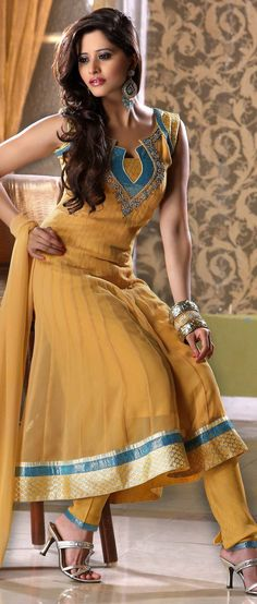 Mustard Faux #Georgette Flared #Churidar Kameez @ $107.01