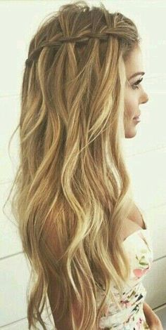 16 Stylish Long Wavy Hairstyles for Summer: #13. Waterfall Braided Hairstyle For Long Wavy Hair