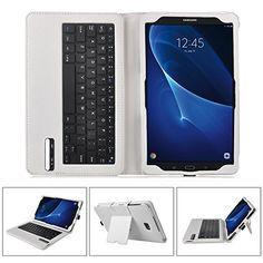 cd4db7ee20e IVSO Funda de Cuero con Teclado Bluetooth para Samsung Galaxy Tab A 10.1  2016 T580N/T585N Tablet - con Removable Keyboard(Blanco)