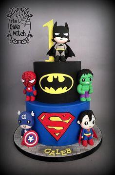 Pop Super Heroes - cake by Nessie - The Cake Witch - CakesDecor Avengers Birthday Cakes, Superhero Birthday Cake, 4th Birthday Cakes, Baby Boy Birthday, Superhero Party, Boy Birthday Parties, Super Hero Birthday, Super Hero Baby, Avenger Birthday Party Ideas
