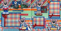 BOYS-THEIR-TOYS-2-premade-scrapbook-pages-paper-piecing-layout-4-album-CHERRY