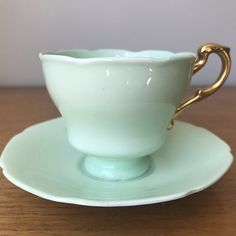 Paragon Pastel Green Tea Cup and Saucer, Light Mint Green Vintage China Teacup and Saucer