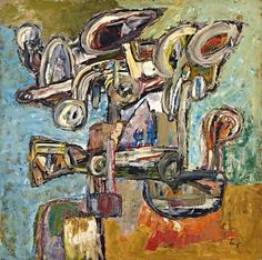 Jacques Doucet (1924-1994)  Untitled  signed 'doucet' (lower right); signed 'DOUCET' (on the stretcher); numbered and dated 'CLXXII 1958' (on the reverse) oil on canvas  100 x 100 cm.  Painted in 1958