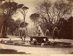 Fontana dei Cavalli Marini Vintage albumen print Tirage albuminé 20x25 Circa 1875