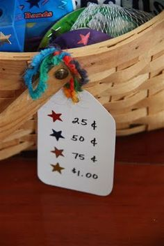 In home store- reward system for chores, good behavior.  Kids earn money and can make purchases from store.
