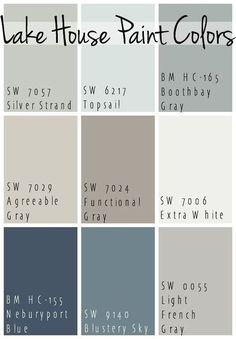 The Best Lake House Paint Colors - calming blue and gray tones that all coordinate for a seamless color pallet for a lake home. The Best Lake House Paint Colors - calming blue and gray tones that all coordinate for a seamless color pallet for a lake home. Paint Schemes, Colour Schemes, Colour Palettes, Color Combinations, Beach Color Schemes, Kitchen Color Palettes, Coastal Color Palettes, Coastal Colors, Color Trends