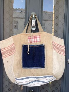 Lara D' Tote made with vintage French grain sacks and mattress ticking